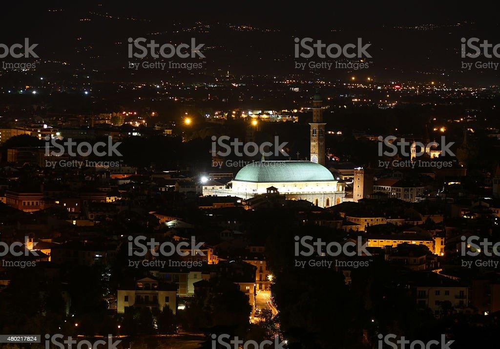 Italian city lights at night and the illuminated monuments stock photo