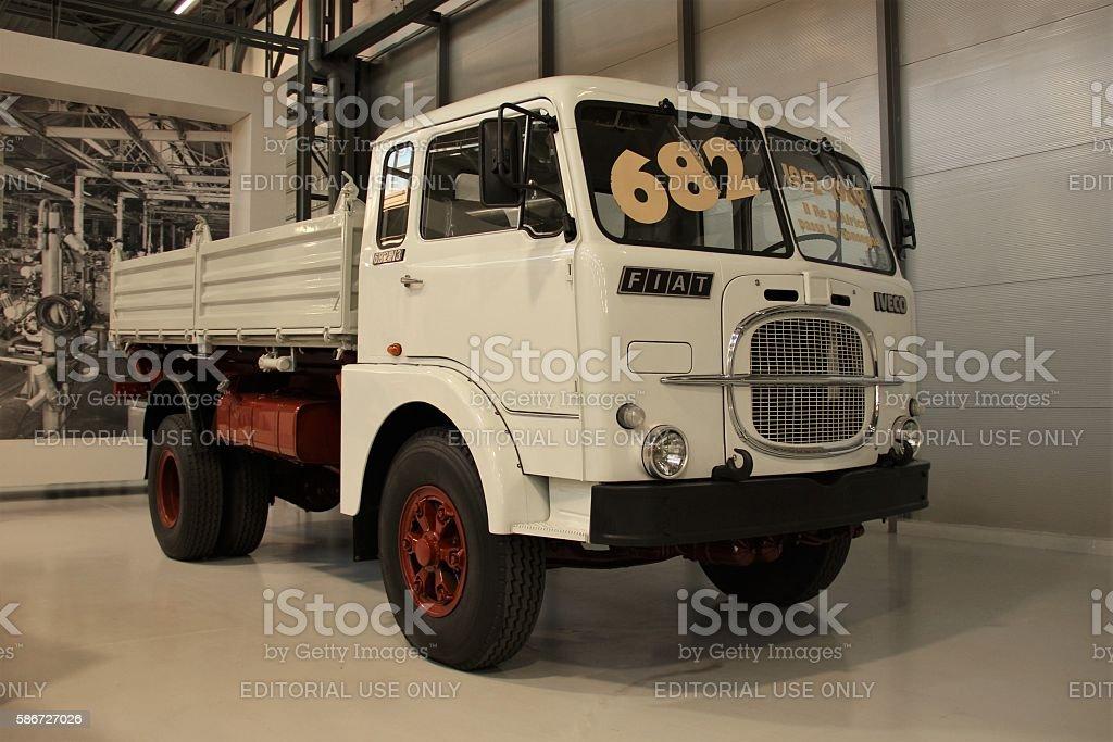 Italian classic truck in the showroom stock photo