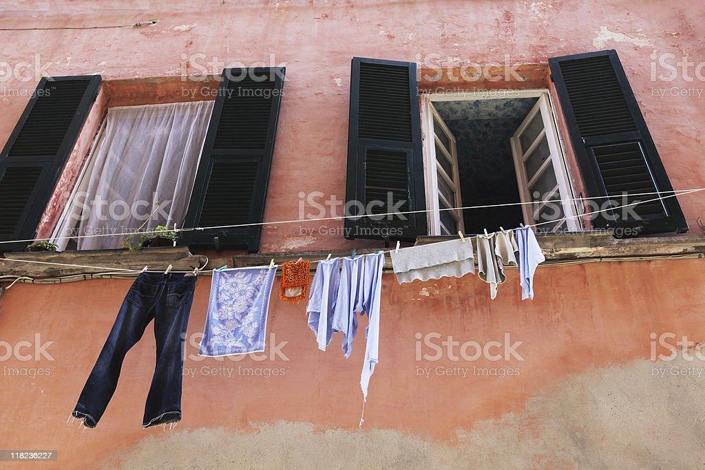 Italian Clotheslines in Levanto royalty-free stock photo