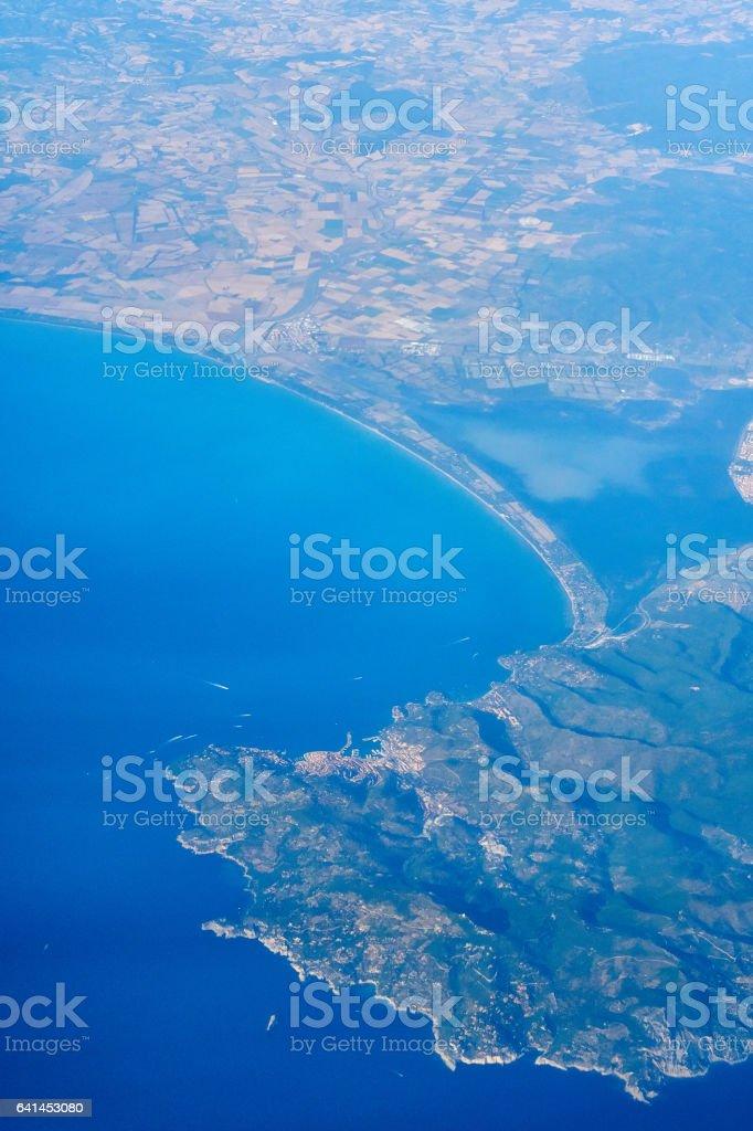 Italian Coast from the airplane - Orbetello stock photo
