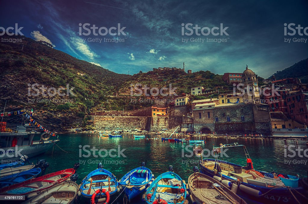 Italian coast - Vernazza Cinque terre stock photo