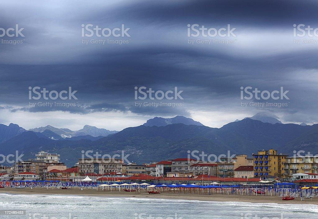 Italian coastline in bad weather stock photo