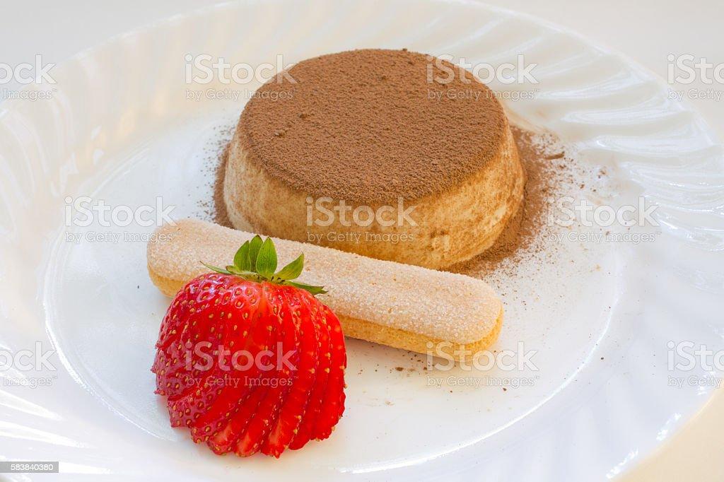 Italian coffee semifreddo with strawberries stock photo