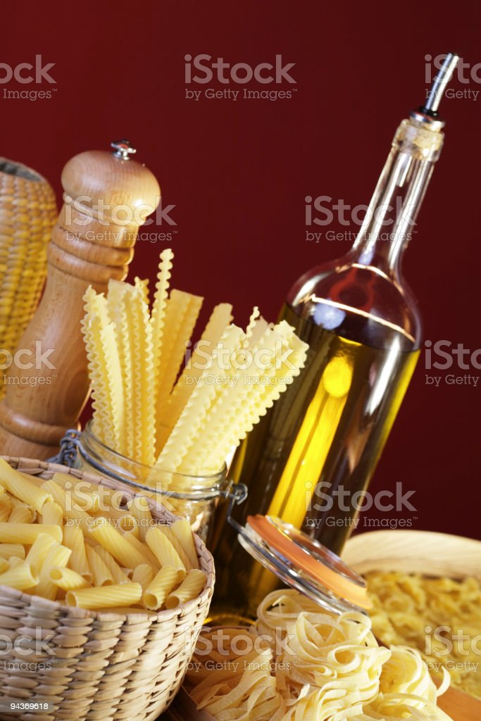 Italian cooking still life, pasta and olive oil. royalty-free stock photo