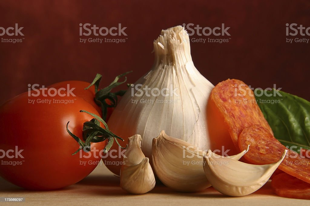 Italian Cooking with Pepperoni royalty-free stock photo