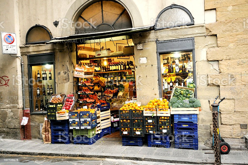 Italian Corner Market Shop Selling Produce in Florence stock photo