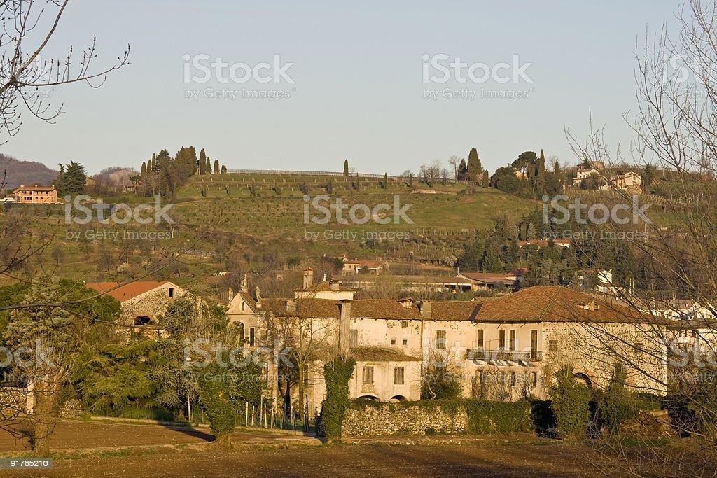 Italian countryside at dawn royalty-free stock photo