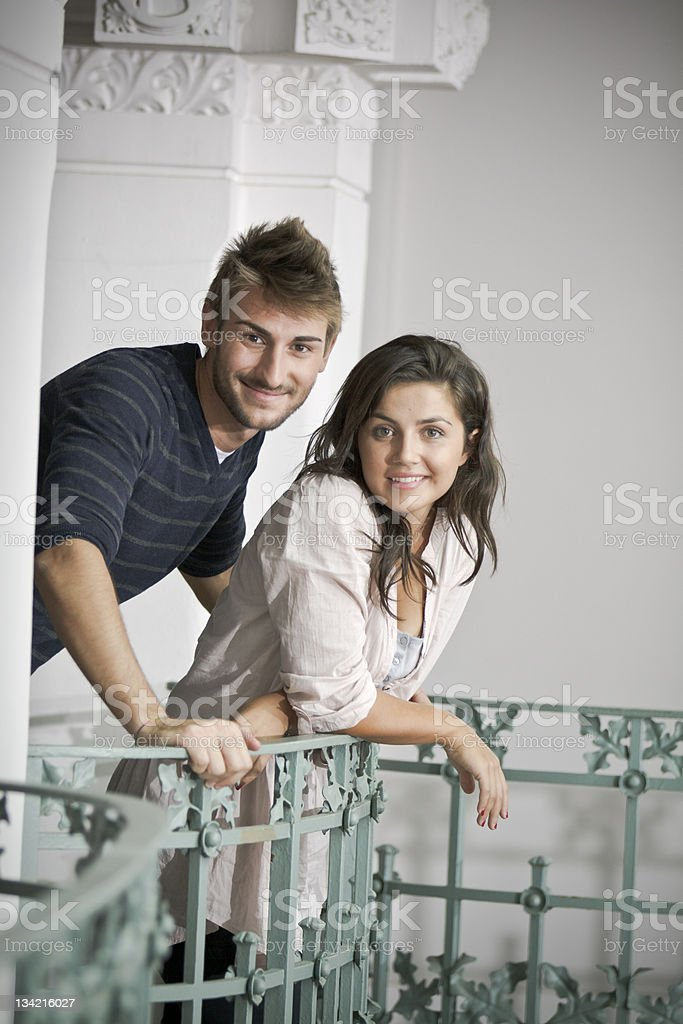 Italian Couple on the balustrade stock photo
