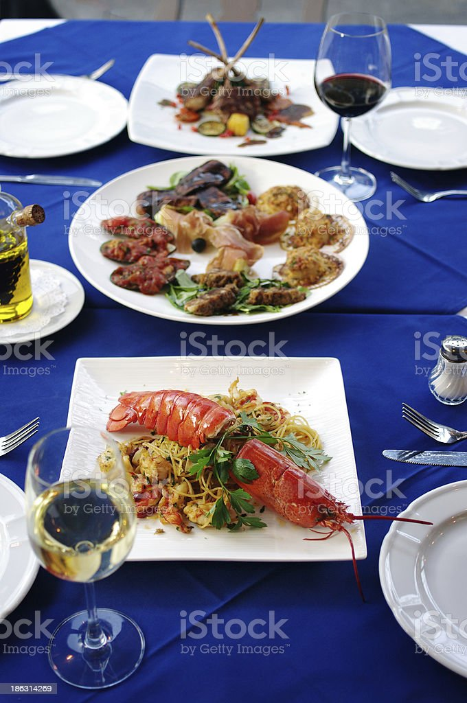 Italian cuisine dinner table royalty-free stock photo