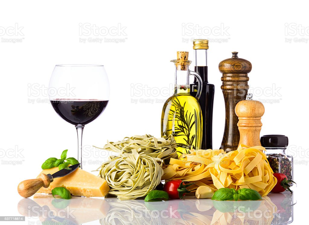 Italian Cuisine Food isolated on White Background stock photo