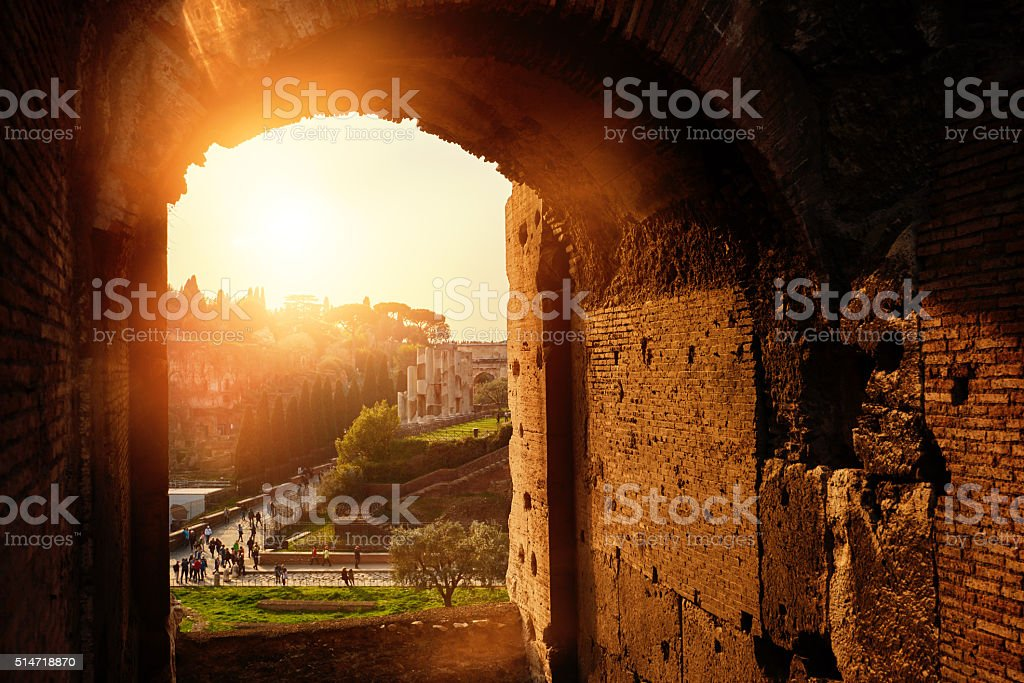 horizontal shot of Rome\'s monuments, view from Colliseum.
