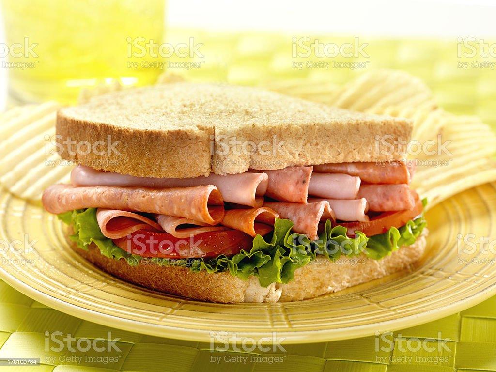 Italian Deli Sandwich with Potato Chips royalty-free stock photo