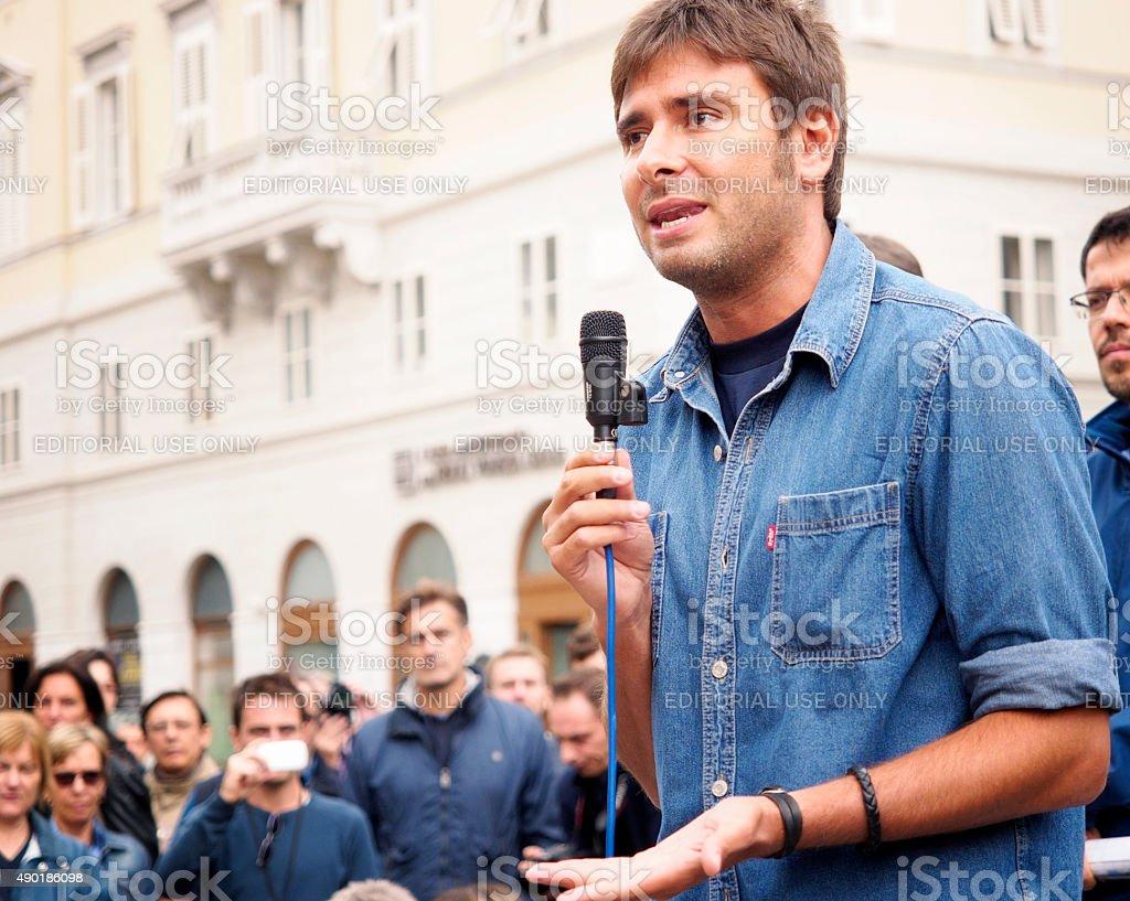 Italian deputy of Movimento 5 Stelle, Alessandro Di Battista stock photo