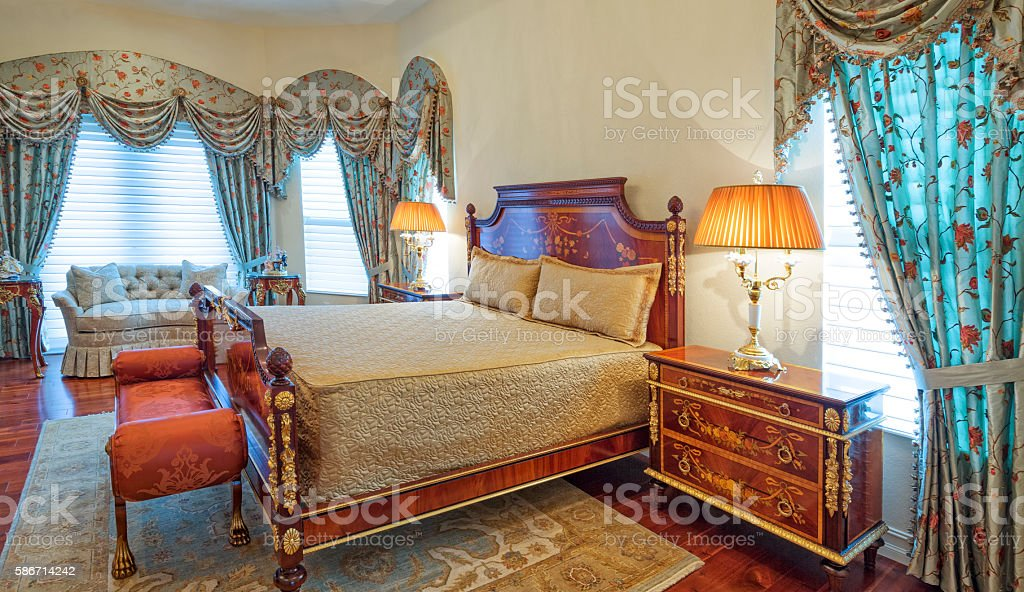 Italian Design Bedroom with Chandelier stock photo