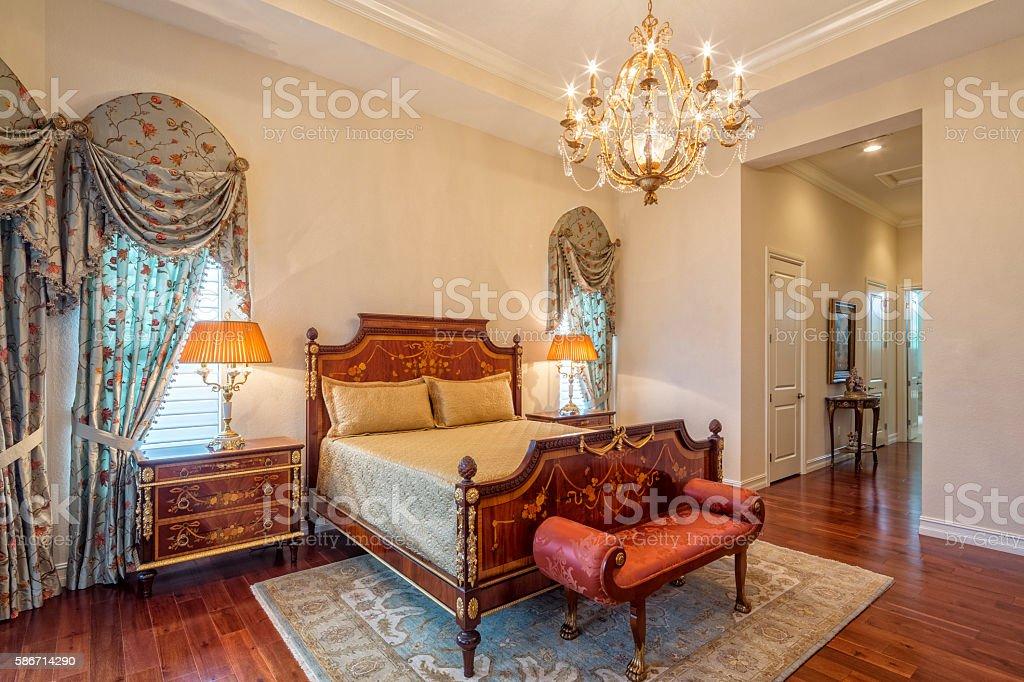 Italian Design Bedroom with Chandelier stock photo