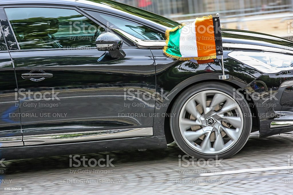 Italian Diplomatic car during Military parade stock photo