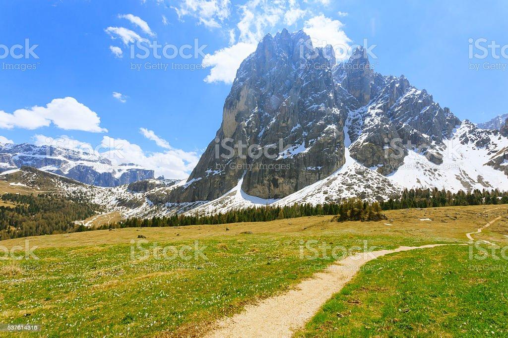 Italian dolomites landscape. 'Sassolungo' mountain view stock photo