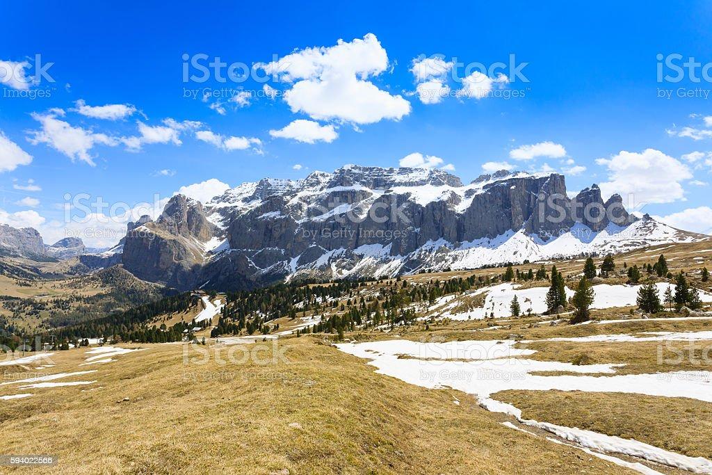 Italian dolomites landscape. Sella group stock photo