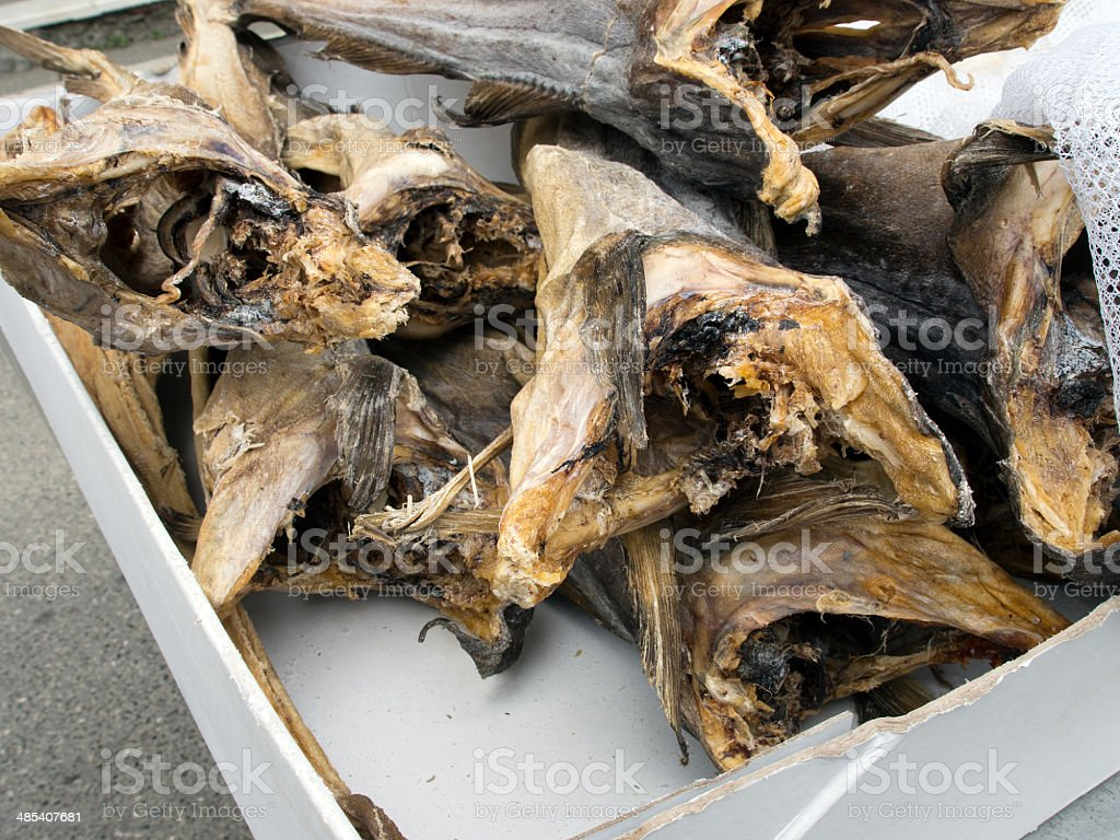 Italian dried cod, fish on market stall - stoccafisso, baccala stock photo
