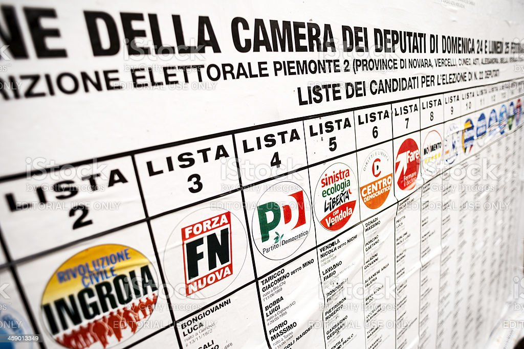 Italian elections 2013: Political parties billboards royalty-free stock photo