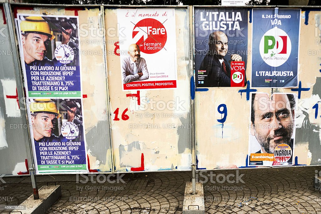 Italian elections 2013: Political parties billboards stock photo