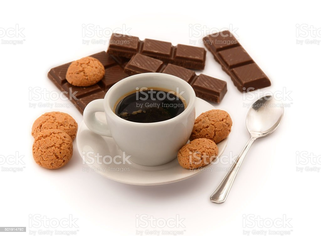 Italian espresso with amaretto biscuits and chocolate pieces stock photo