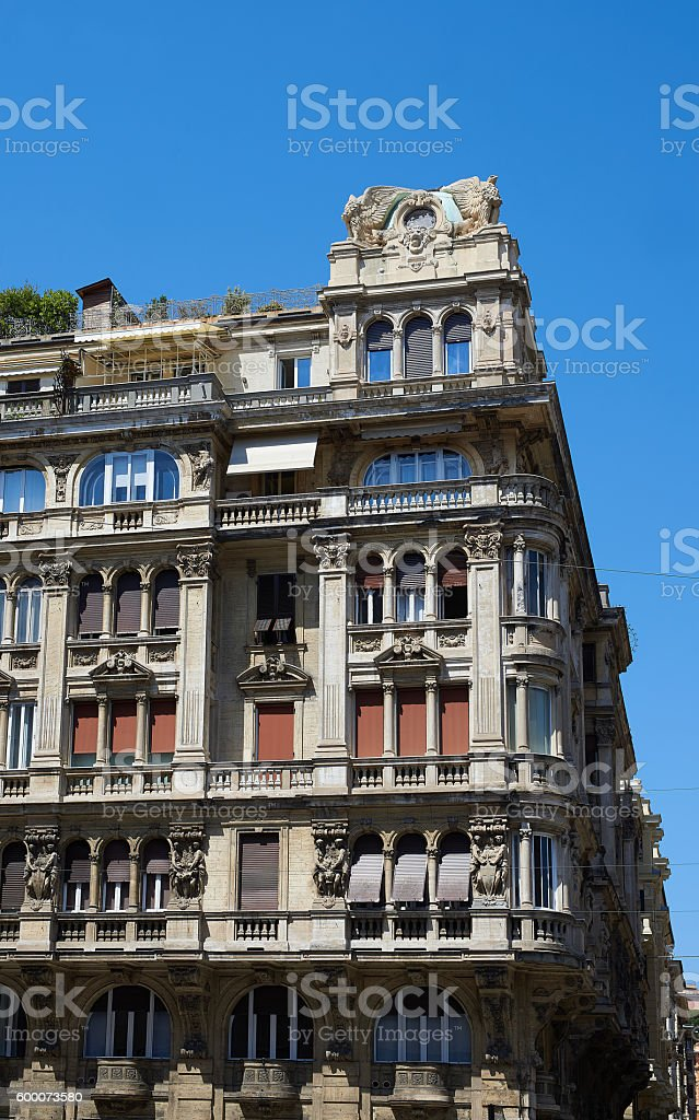 Italian facade in Genova, Italy. stock photo