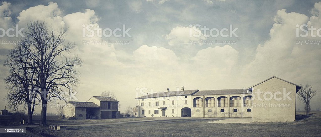 Italian Farm with Vintage style stock photo