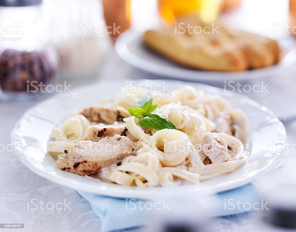 italian fettuccine alfredo stock photo