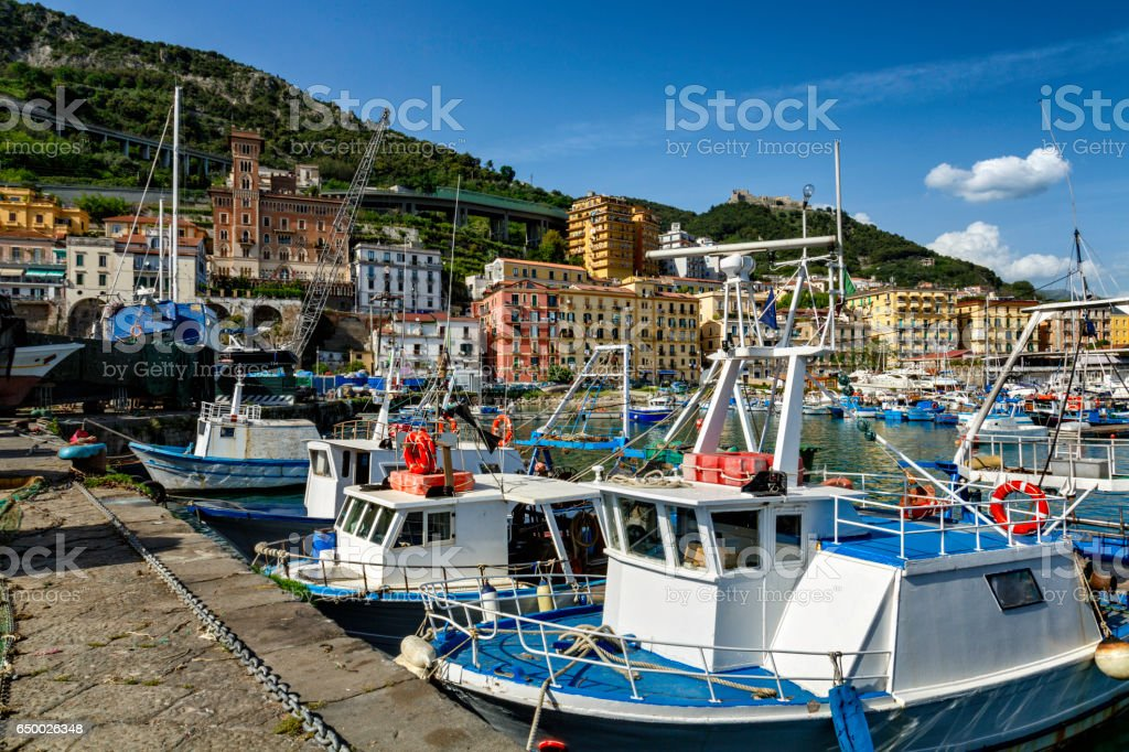 Italian fishing industry. Image taken in a harbor. Fishing backgrounds. Salerno, Italy. stock photo