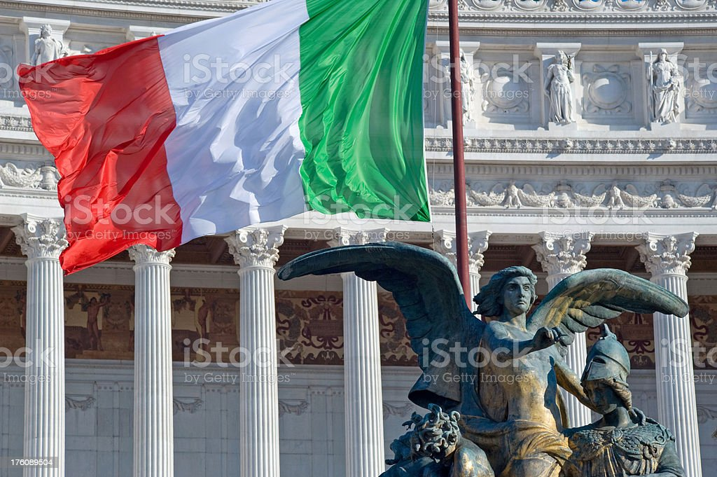 Italian flag and Victory stock photo