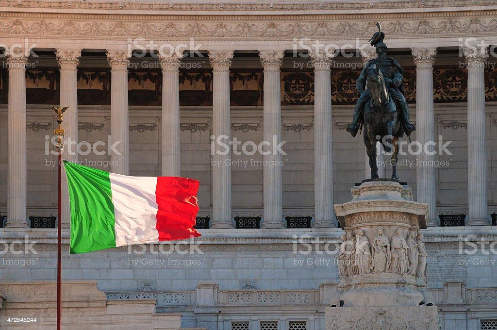 Italian flag at the Altare della Patria monument stock photo