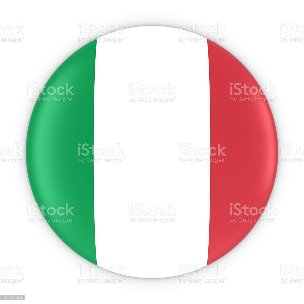 Italian Flag Button - Flag of Italy Badge 3D Illustration stock photo