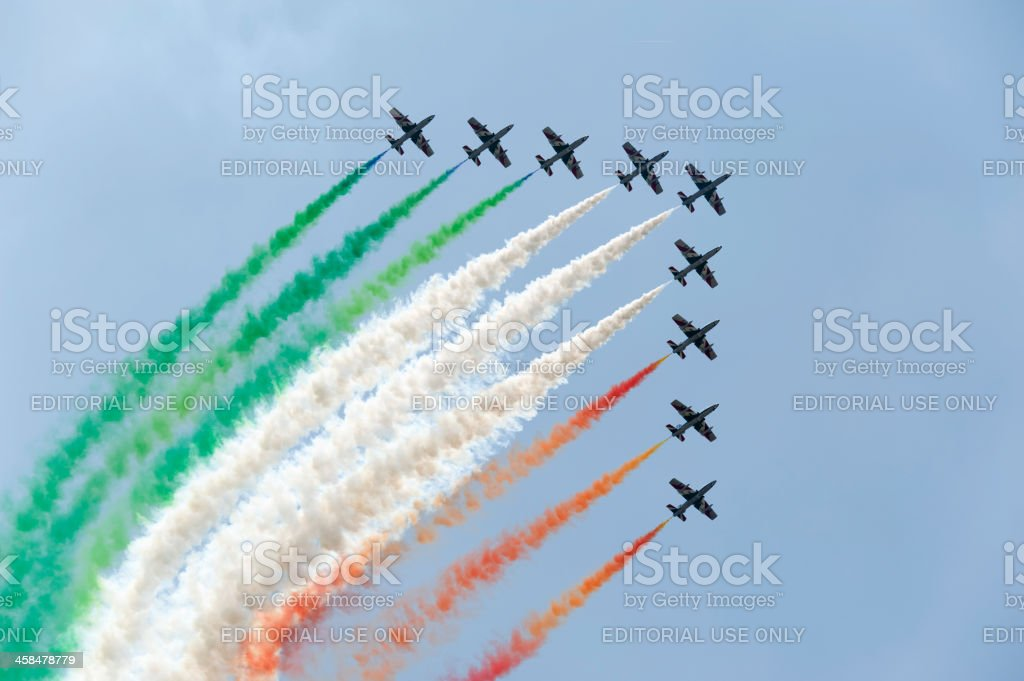 Italian Flag by Frecce Tricolori royalty-free stock photo