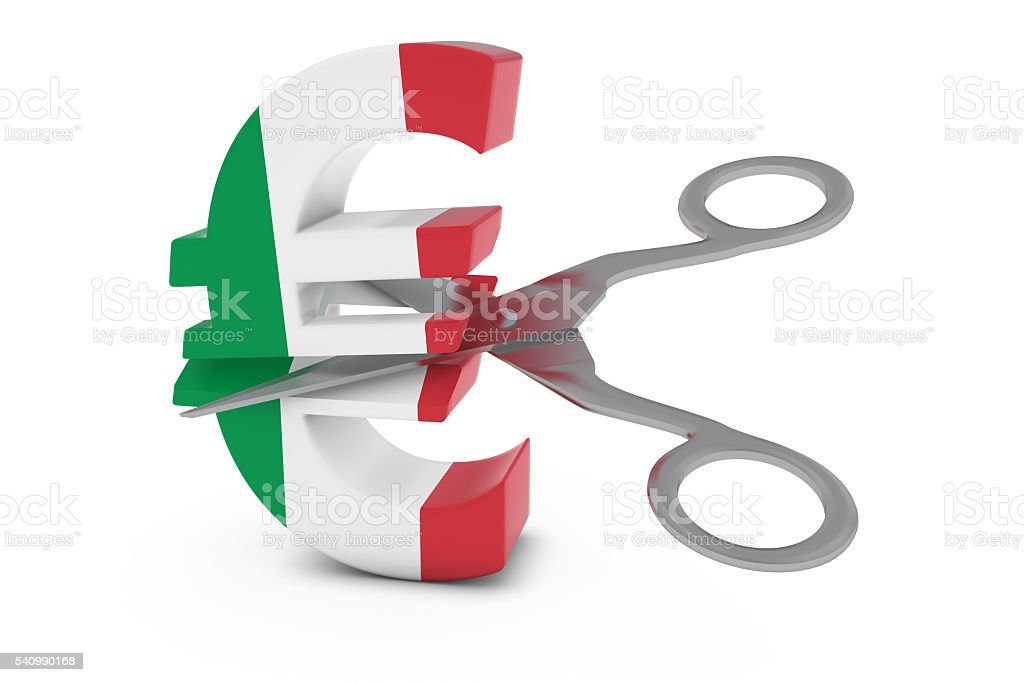 Italian Flag Euro Symbol Cut in Half with Scissors stock photo