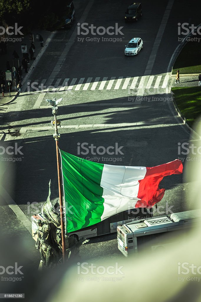 Italian Flag from Vittorio Emanuele Monument stock photo