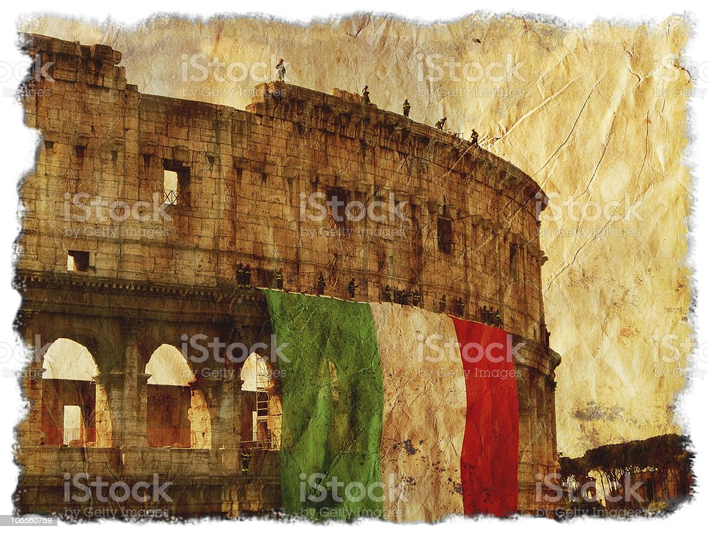 Italian flag hanging on Colosseum - Vintage Rome royalty-free stock photo