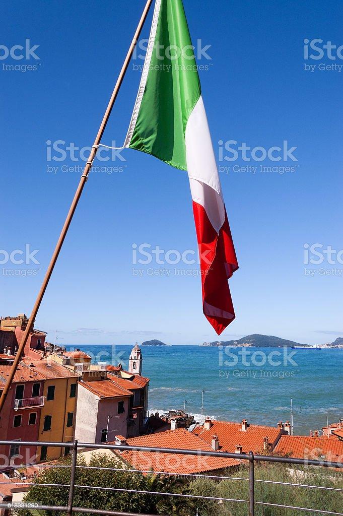 Italian Flag in the Gulf of La Spezia Italy stock photo