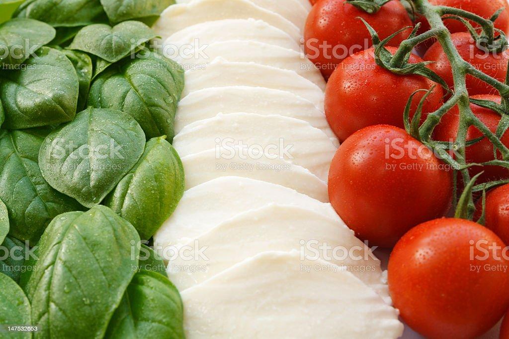 Italian flag - insalata caprese tricolore stock photo