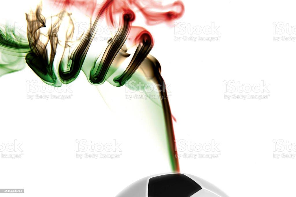 italian Flag on smoke, football stock photo