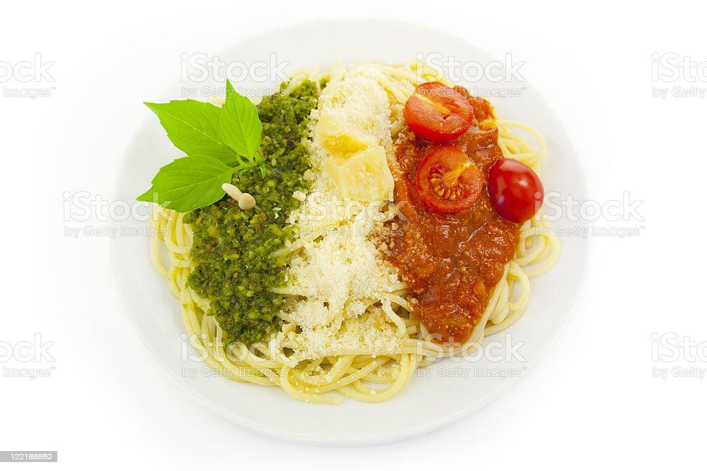 Italian flag - pasta with green pesto, white parmesan and royalty-free stock photo