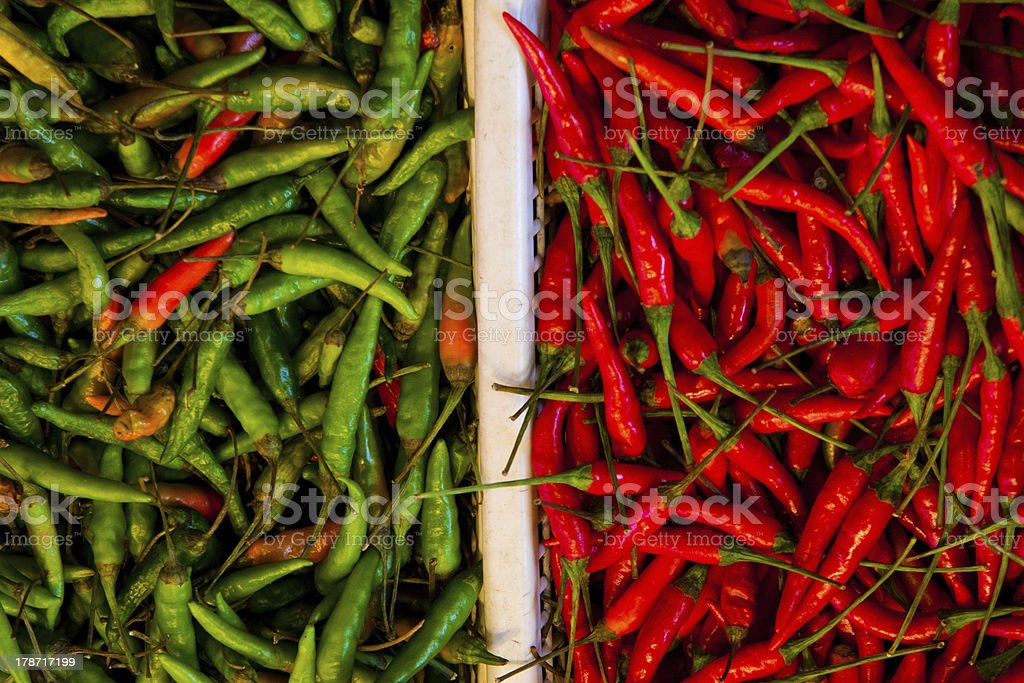 Italian flag with grenn and red hot pepper royalty-free stock photo