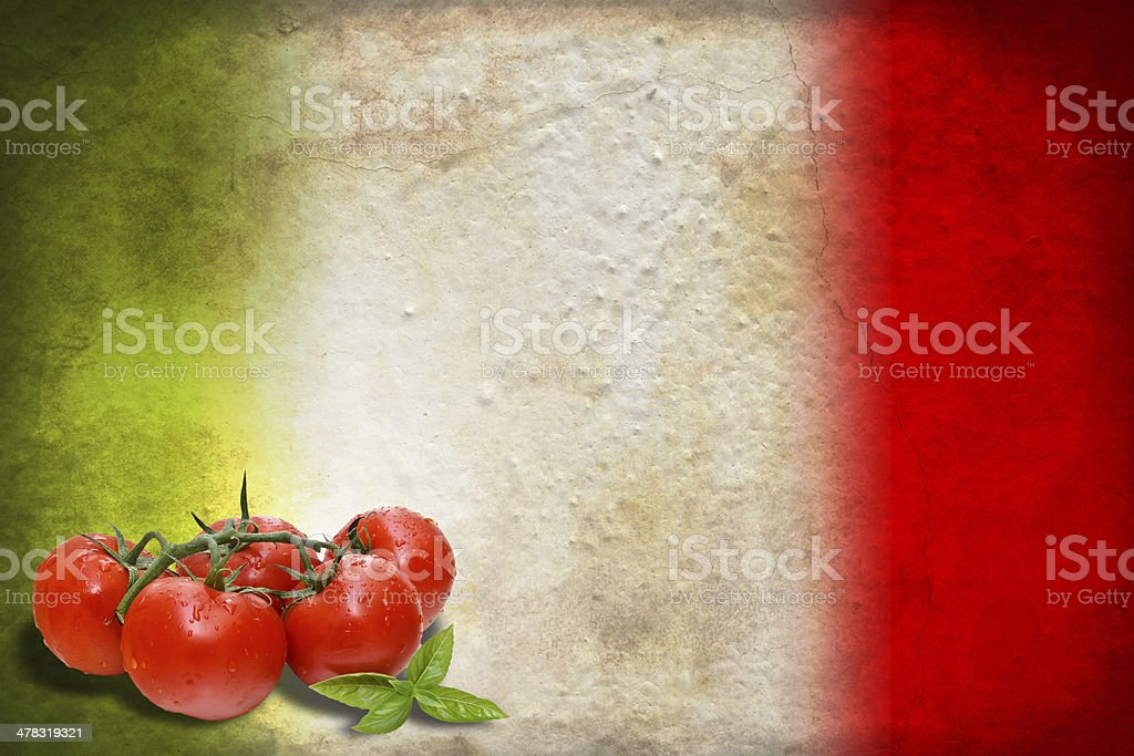 Italian flag with tomatoes royalty-free stock photo