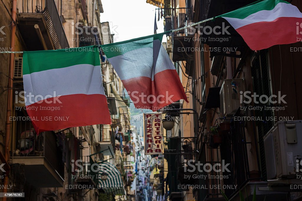 Italian flags in Naples, Italy stock photo