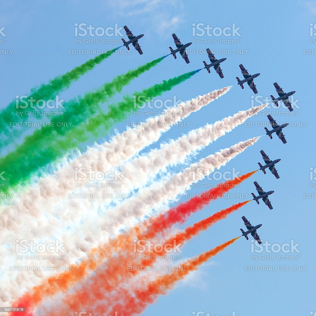 Italian flying team Frecce Tricolori in action stock photo