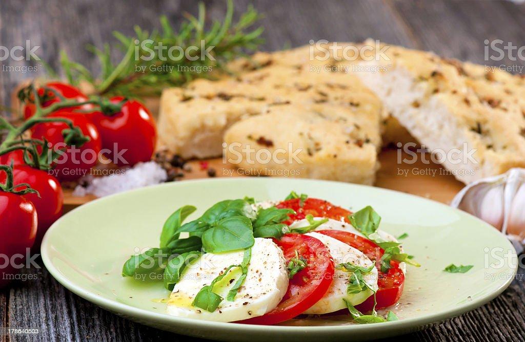 Italian 'focaccia and caprese salad' royalty-free stock photo