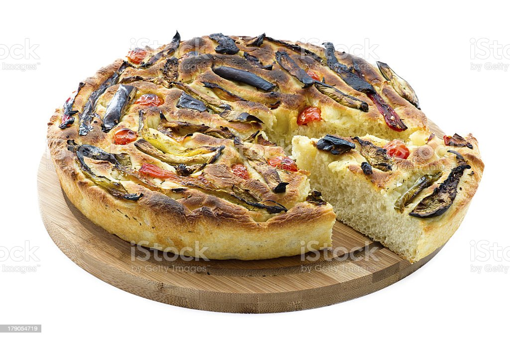 italian focaccia with vegetables royalty-free stock photo