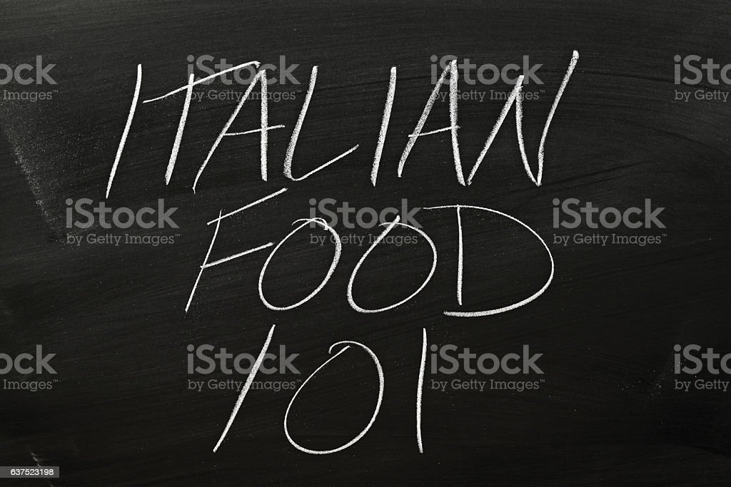 Italian Food 101 On A Blackboard stock photo