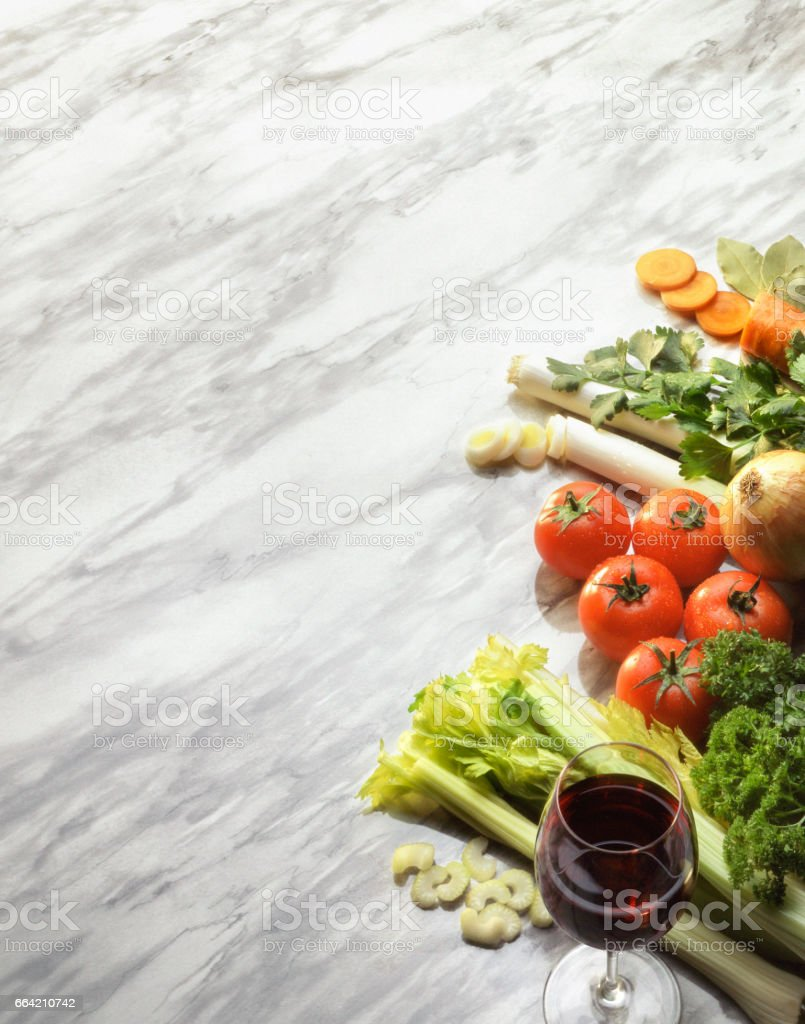Italian food ingredients on marble stock photo