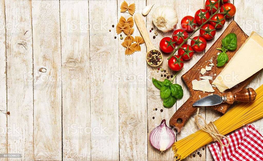italian food or ingredients background with fresh